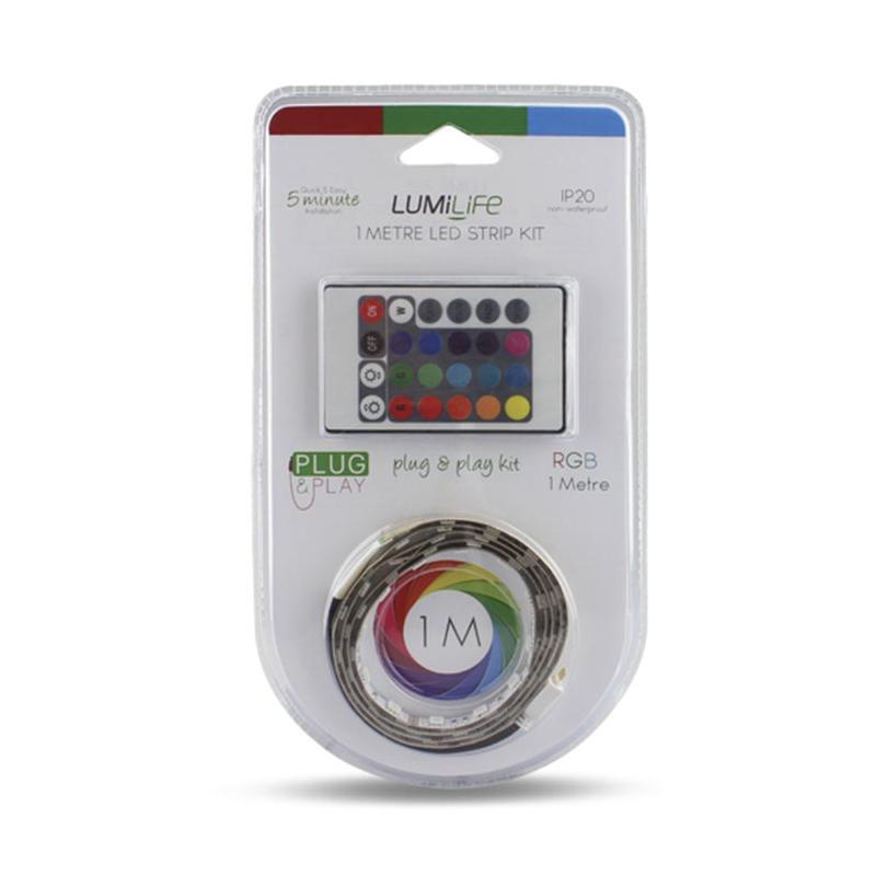 Image of Lumilife Non-waterproof Plug & Play LED Strip Light Kit 1m Multicolour