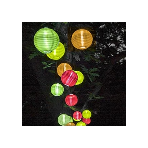Festive Solar Chinese Lanterns - 10 Pack (Small) - 5.5m